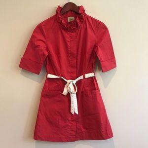 Anthropologie Red Ruffle Collar Shirt Dress